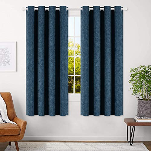 BEST DREAMCITY Faux Linen Calming Blue Shade Room Darkening Thermal Insulated Solid Grommet Blackout Curtains for Bedroom, 2 Panels, W52 X L63 Inch, Navy Blue