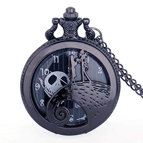 J-Love La Noche Antes de Navidad Reloj de Bolsillo de Cuarzo de Bronce Reloj de Bolsillo con diseño de Jack y Sally con Collar Relojes de Cadena