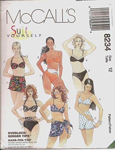 McCall's 8234 Bikini Swimsuit & Sarong Sewing Pattern Size 12 Bust 34