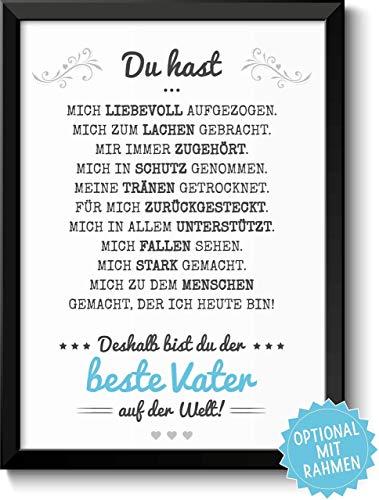 Bester Vater Bild optional mit Holz-Rahmen und Namen personalisiert Geschenk Geschenkidee Danke sagen Dankeschön Papa
