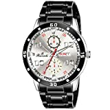 Black round dial with Black colored metal strap & Black Dial Color. Movement Type: Quartz, Display Type: Analogue, Water resistance: Yes Warranty - 6 Month Package Contents:1 watch and 1 Hard Box Elegant Display & Looks Makes This Your Perfect Compa...