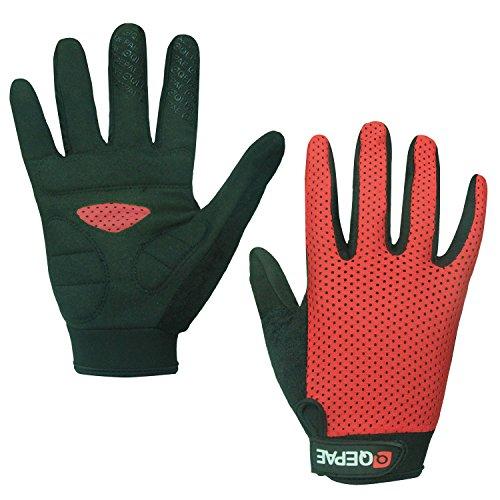 LERWAY Anti-Rutsch Outdoor Hände Handschuhe Breath Weich Vollfinger MTB Handschuh Fahrradhandschuhe (Rot, M)