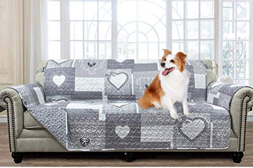Brilliant Sunshine Gray Heart Love Patchwork, Reversible Large Sofa Protector for Seat Width up to 70', Furniture Slipcover, 2' Strap, Couch Slip Cover for Pets, Kids, Dogs, Cats, Sofa, Gray