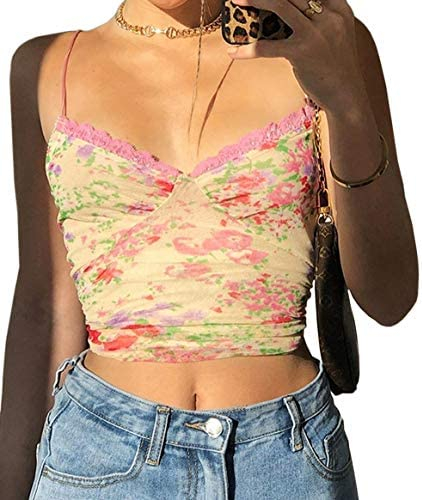 Meladyan Women s Lace Patchwork V Neck Camisole Ribbed Spaghetti Strap Crop Cami Tank Tops Small product image