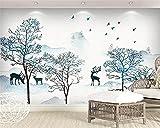Papel Tapiz 3D Imagen Mural Foto Nueva Tinta Pintura Paisaje Árbol Ciervo Pared Pintura Decorativa S Para Sala De Estar Sofá Tv Fondo Dormitorio Decoración De La Pared 400(W) X280(H) Cm