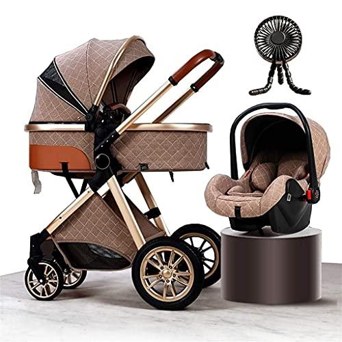 ZCZZ Cochecito de bebé de lujo 3 en 1 de paisaje alto para cochecito de bebé recién nacido ligero con ventilador almohadilla de refrigeración parasol cubierta de lluvia saco mochila mosquitero