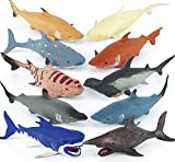 Axbotoy 10 Pack Shark Toys,8' Soft and Stretchy Realistic Shark Toy Set,Toddler Floating Bathtub Toys and Birthday Party Favors for Boys Girls Kids