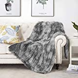 HBlife Luxury Soft Faux Fur Throw Blanket, Solid Reversible Lightweight Shaggy Fuzzy Blanket Plush Fluffy Cozy Decoration Throw Blankets for Couch and Living Room, 50'X60' Tye Die Gray
