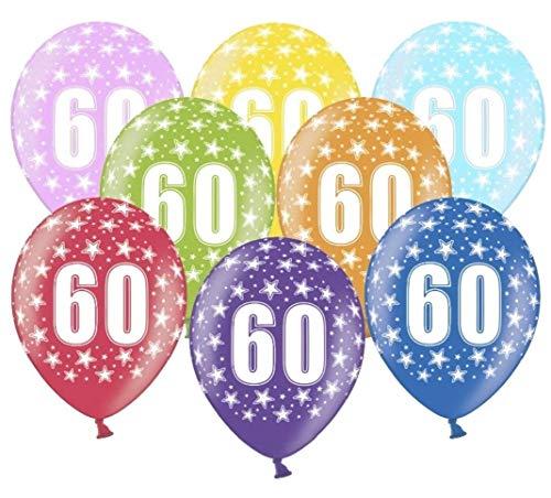 Libetui 10 kunterbunte Luftballons 60 Jahre Metallic 30cm Deko zum 60. Geburtstag Jubiläum 60 Jahre Diamant Hochzeit Party Birthday Dekoration (Zahl 60)