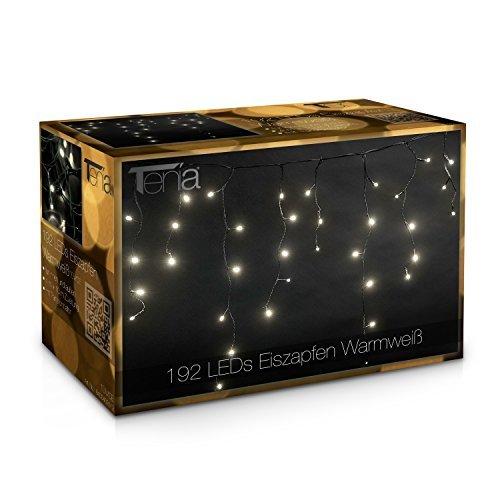 2a44cbe2741 Tenia - Cortina Cascada de luces LED carámbano Iluminación navideña 4m  Blanco Cálido 192 microbombillas LED