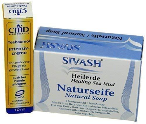 Pflegeset für unreine, fettige Haut: SIVASH-Heilerde-Naturseife 100g + Teebaumöl Intensivcreme 10ml