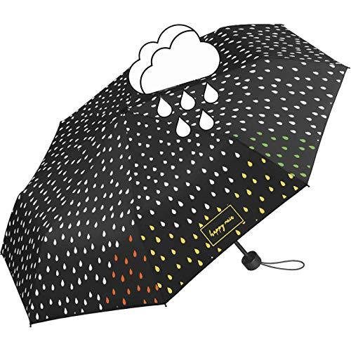 Ombrello nero da donna con design a gocce che cambia colore in caso di pioggia Multicolore Mini ombrello tascabile apribile a mano. 95 cm