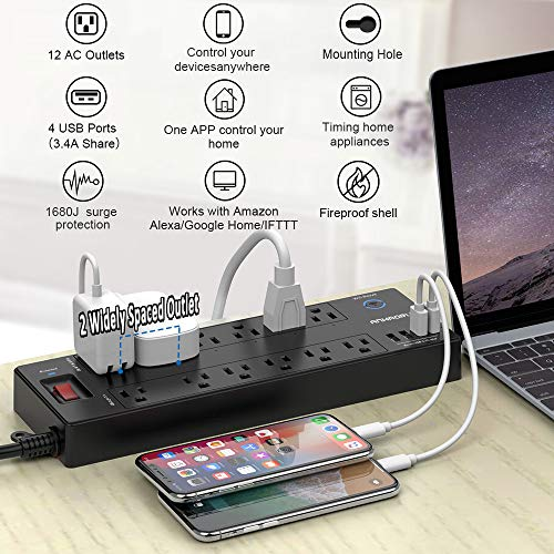 Smart Plug, Power Strip Work with Alexa or Google Home, ANHAORUI WiFi Surge Protector with 6 Smart Outlets and 6 Always on outlets and 4 USB Ports, 6 Feet Extension Cord, Black/Grey, ETL Listed