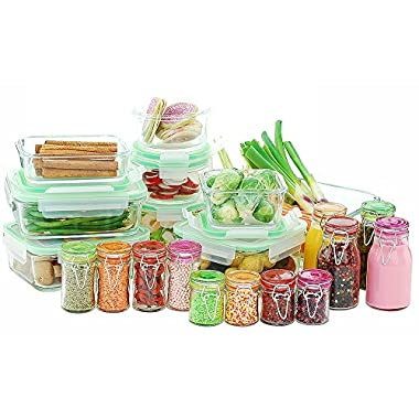 Kinetic 11414 Go Green Glassworks Series 30 Piece Set Glass Food Storage Container with Lid and Mini Jar, Clear