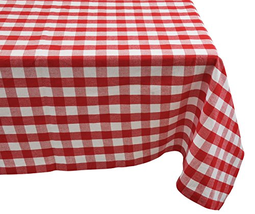 Yourtablecloth 100% Cotton Checkered Buffalo Plaid Tablecloth –for Home, Restaurants, Cafés – Be it for Everyday Dinner Picnic or Occasions Like Thanksgiving 60 x 104 Rectangle/Oblong Red and White