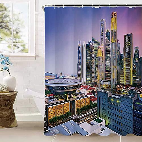 Urban Duschvorhänge, Skyline von Singapur am Abend Wolkenkratzer Stadion aktiv Stadt Leben Südostasien dekorativ wasserdicht schimmelresistent Polyester Stoff Badezimmer-Set mit 12 Haken (100prozent Polye
