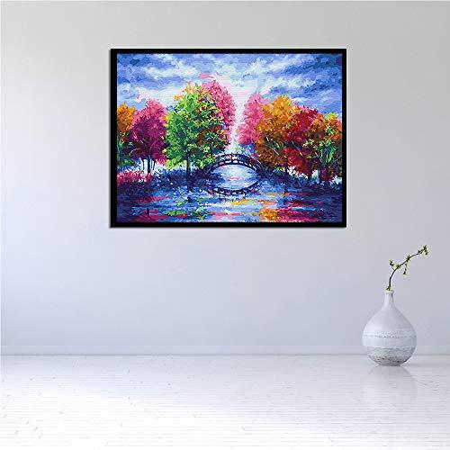 WSNDGWS kunstenaarsschilderij, roze, camper, palm, boho, canvas, schilderen, zonder fotolijst 50x70cm C5