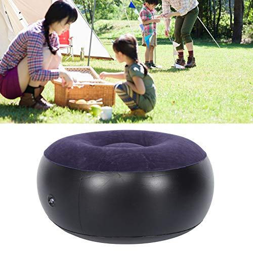 DD&Eren Portable Outdoor Camping Chair Inflatable Flocking Stool Footrest For Home Office Travel Blue Round Stool