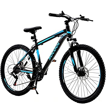 Mountain Bike 26 inch Women Men`s Bike 21 Speed with Shimano Trigger Shifters Derailleur Dual Disc Brake with Full Suspension City Road Mountain Bicycle for Men Woman Adult and Teens -US Stock