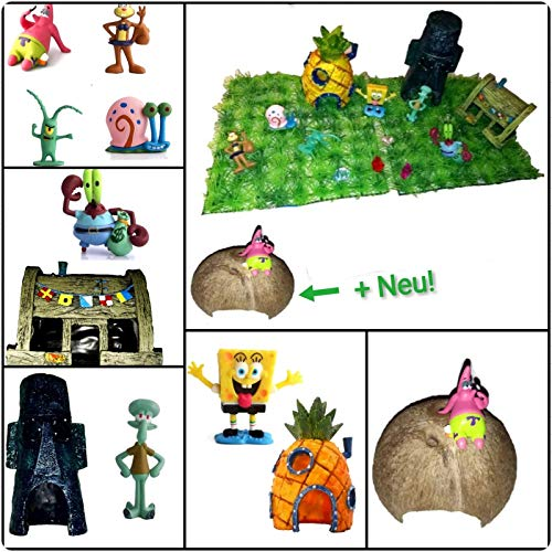 Unbekannt Aquarium Dekoration Deko Bikini Bottom Deko Set Figuren