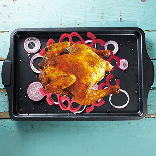 Cadeaux de mai Grille de rôtissage de dinde rouge lavable au lave-vaisselle, grille à viande, résistant à la chaleur pour outil de cuisson accessoire