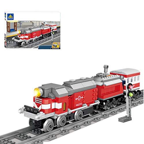 Oeasy Hochgeschwindigkeitszug mit Schienen Baustein Bausatz, 387 Klemmbausteine City Zug mit Minifiguren,...