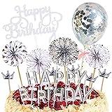 Ziyero 24 Piezas Juego Adornos para Tarta Feliz Cumpleaños Brillante Velas de Plata Decoración Pastel Feliz Cumpleaños Duradero, para Bodas, Fiestas, Tartas Cumpleaños, Muffins, Postres, Hornear Etc
