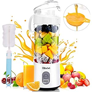 Portable Blender, Personal Size Blender with Six Blades, 13oz Handheld Fruit Mixer Machine, USB Rechargeable Ice Blender Mixer for Home/Office/Sports/Travel/Outdoors