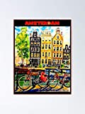 AZSTEEL Amsterdam Vintage Bike Travel Póster