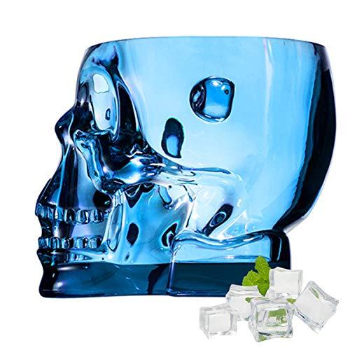 SYSP Cubo de Hielo acrílico, Cubo de Calavera para contenedor de Vino Helado, Cubo de Bebidas Transparentes con Asas, Cubo de Hielo de Cristal para Fiesta de Bar,Azul