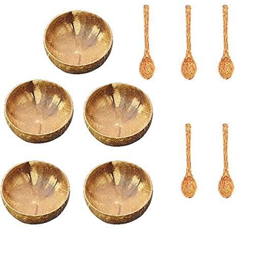 Cuenco de coco natural auténtico más vendido importado de Vietnam, vajilla para el hogar, cuenco, tenedor, cuchara, exquisito handicrafts-5 cuenco, 5 cucharas