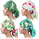 4 Pieces Working Cap with Buttons and Ribbon Tie Bouffant Hats Long Hair Tie Back Hats for Women