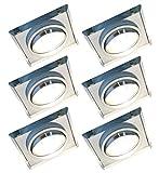 Trango Set di 6 Design Faretto da incasso a LED TG6729S-06MOCOB Apparecchi da incasso a soffitto I Faretto in vetro tagliato a mano e alluminio con modulo LED 6x 5 Watt Faretti da soffitto ultrapiatti