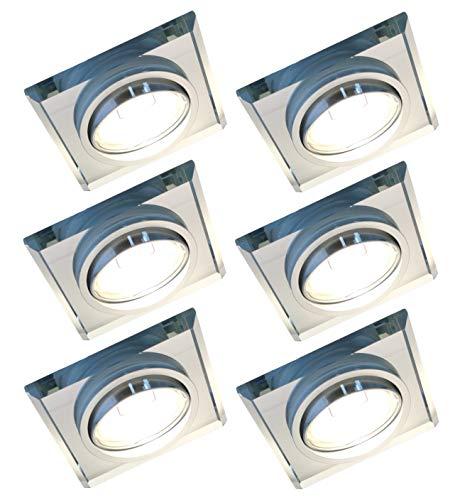 Trango 6er Set Design LED Einbaustrahler TG6729S-06MOSD Einbauleuchten, Deckenstrahler, Deckenleuchte aus Kristall Glas & Alu incl. 6x 3 Stufen dimmbaren 5 Watt LED Modul Ultra flach Einbauspots