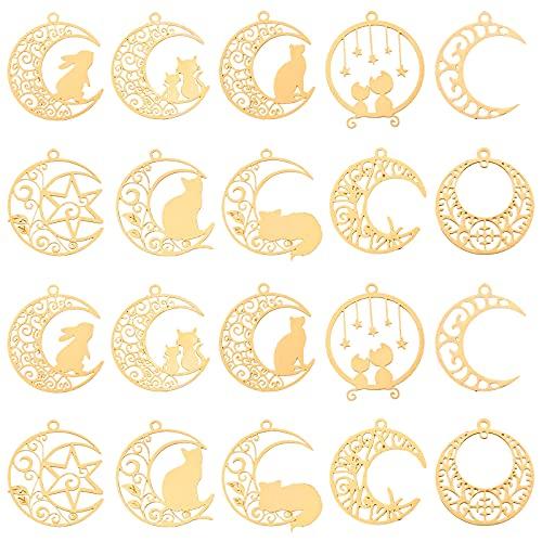 OLYCRAFT 40 colgantes con forma de gato y luna, para joyas, chapado en oro, con forma de corazón,...