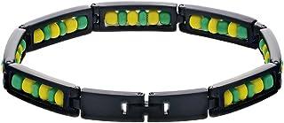 "In Season Jewelry Black Stainless Steel Link Wristband Ilde de Orula Bracelet Babalawo Santeria 8"""