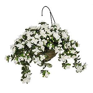Silk Flower Arrangements House of Silk Flowers Artificial White Azalea in Water Hyacinth Hanging Basket (Natural Water Hyacinth)