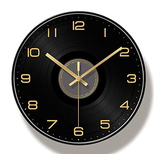 TYHCH Horloge Murale Noire Nordique Design Moderne créatif Grand Mur Montre à la Chambre silencieuse Cuisine Cuisine PVC Salon décoration horloges (Color : Metal, Sheet Size : 12 inch)