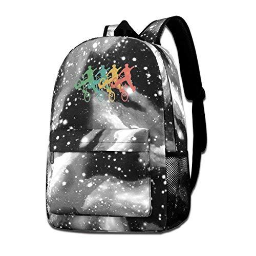 Hdadwy Retro BMX Galaxy Casual Daypack Zaino blu Unisex Zaino Borsa a tracolla per scuola Viaggio Zaino scuola Galaxy Sky Starry Bag Daypack