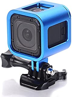 Nechkitter Aluminum Frame Mount for GoPro Hero 5 Session 4 Session Hero Session, CNC Aluminum Alloy Solid Protective Case with Wrench -Blue