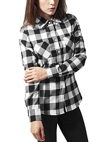 Urban Classics TB388 Damen Hemd Ladies Checked Flanell Shirt, Gr. 40 (Herstellergröße: L), Mehrfarbig (blk/wht 50)
