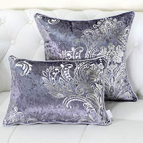 QMZ Fundas de Cojines Terciopelo Plata Caliente Multicolor Funda de Almohada Cuadrada (sin núcleo)2pcsdecoración del sofá de Microfibra Almohada60cm