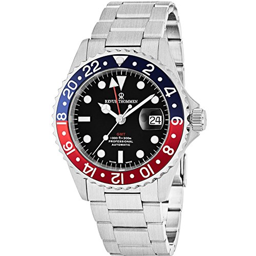 Revue Thommen GMT Professional Men's Stainless Steel Automatic Watch - Swiss Made 42mm Analog Black Face 2nd Time Zone GMT Watch for Men 17572.2135