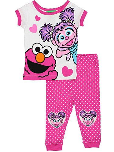 Sesame Street Elmo and Abby Cadabby Toddler Girls Cotton Pajamas Set (2T, Elmo Abby Pink)