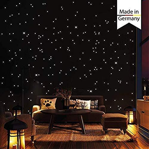 Wandtattoo-Loft 350 Leuchtpunkte und Leuchtsterne für Sternenhimmel – selbstklebend und fluoreszierend - Extra Starke Leuchtkraft