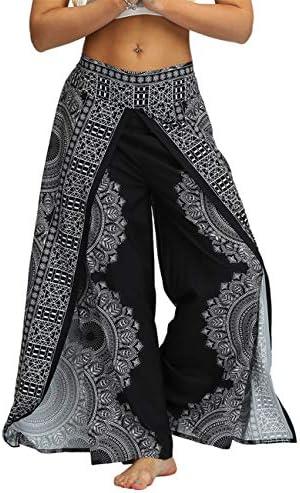 AMOMA Women Wide Leg Side Slit Yoga Pants Elastic Wasit Loose Trousers Folk Aladdin Boho Style product image
