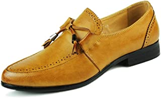 RongAi Chen Brogue Wingtip Oxford for Men Business Formal Dress Work Shoes Slip on Microfiber Leather Bowknot Tassel Rope (Color : Yellow, Size : 5.5 UK)
