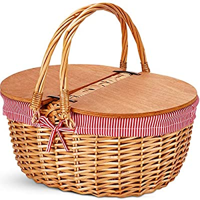 G GOOD GAIN Wicker Picnic Basket with Liner, Classic, Vintage-Style Picnic Basket, Wicker Picnic Hamper for Camping,Outdoor,Valentine Day,Thanks Giving,Birthday Red Stripe
