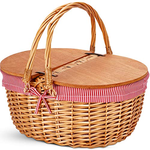 Wicker Picnic Basket with Liner, Classic,
