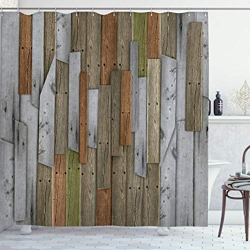 """Ambesonne Rustic Shower Curtain, Grunge Wood Planks Barn House Door Nails Country Farm House Life Theme Layout, Cloth Fabric Bathroom Decor Set with Hooks, 70"""" Long, Blue Grey"""